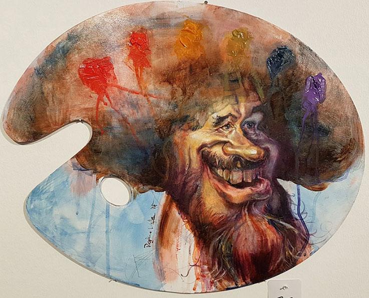 Bob Ross Oel auf Holz Karikatur