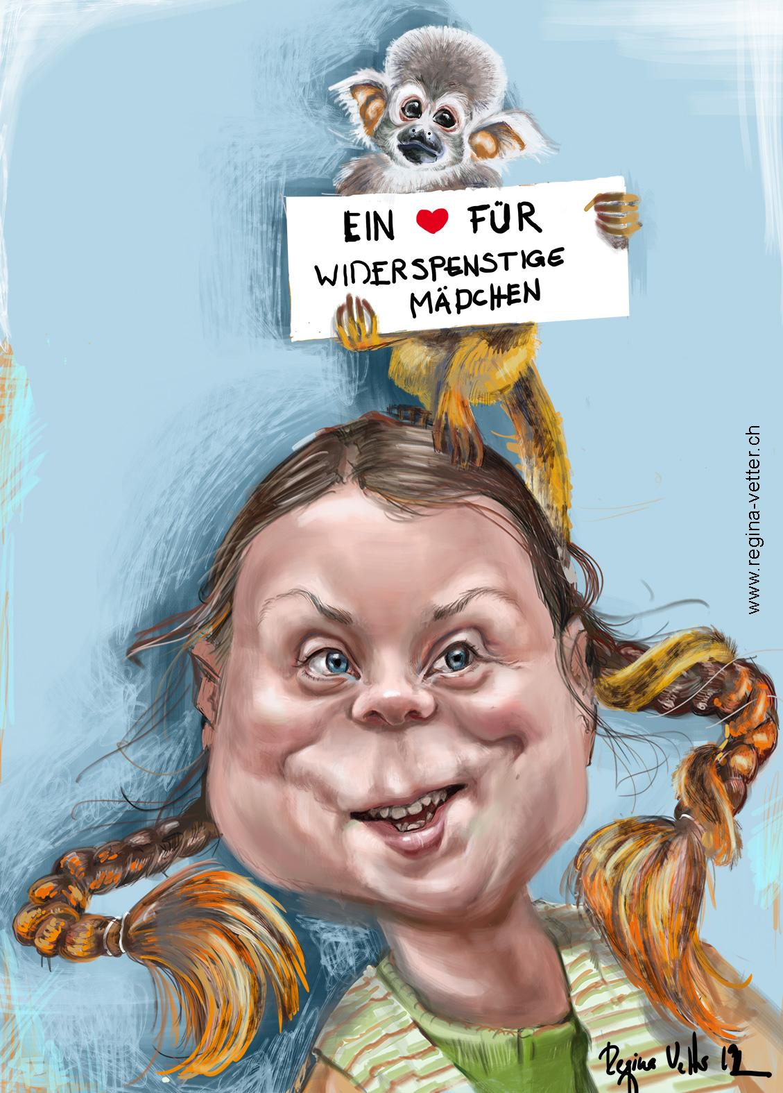 Karikatur Greta Langstrumpf