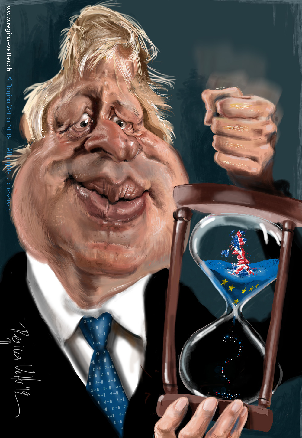 Caricature of the british Prime minister BorisJohnson