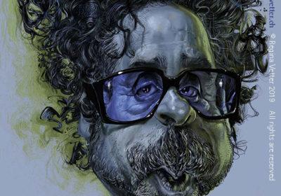 Der Filmproduzent Tim Burton von Regina Vetter Karikatur